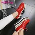 VALLKIN 2017 Wedge de Tacón Alto Plataforma Punta Redonda Zapatos de Las Mujeres Lace Up Mujeres Bombas Otoño Tamaño Del Zapato de Cuero Real 34-39