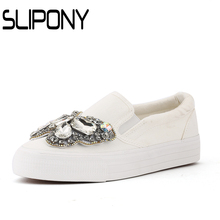 2017 Platform Lace Rhinestone Espadrilles Shoes Flats Shoes Luxury Brand slip on Women crystal Shoes bow