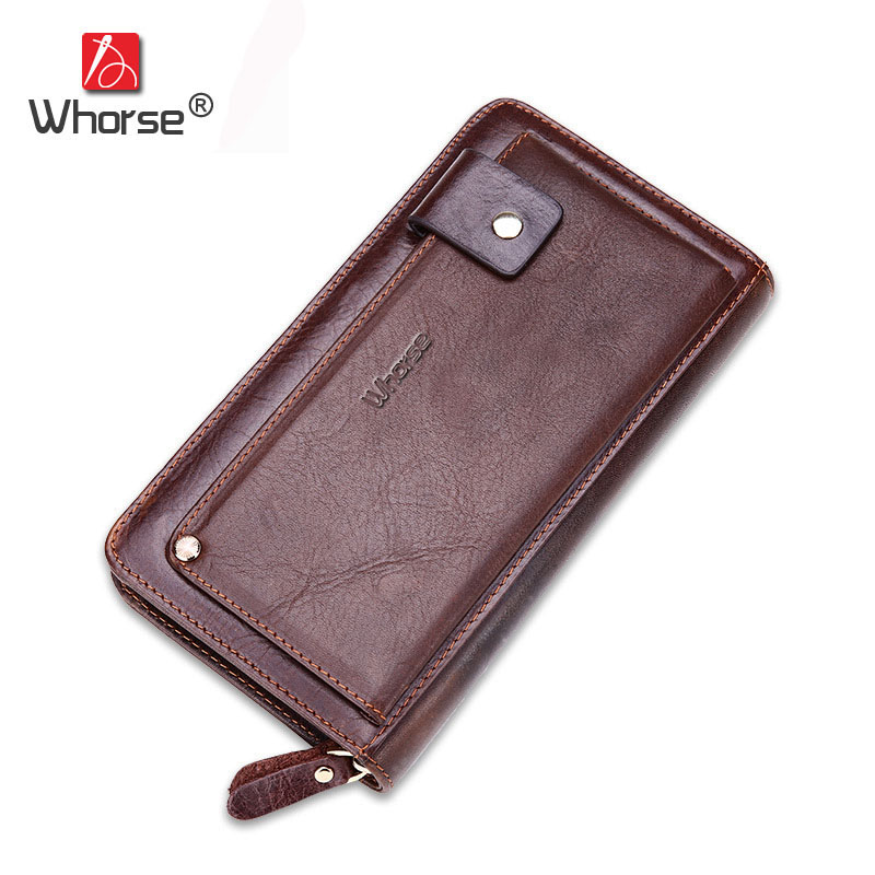 все цены на [WHORSE] Brand Vintage Long Genuine Leather Wallet Men Large Retro Casual Oil Wax Cowhide Zipper Wallets Purse Coffee W93190 онлайн