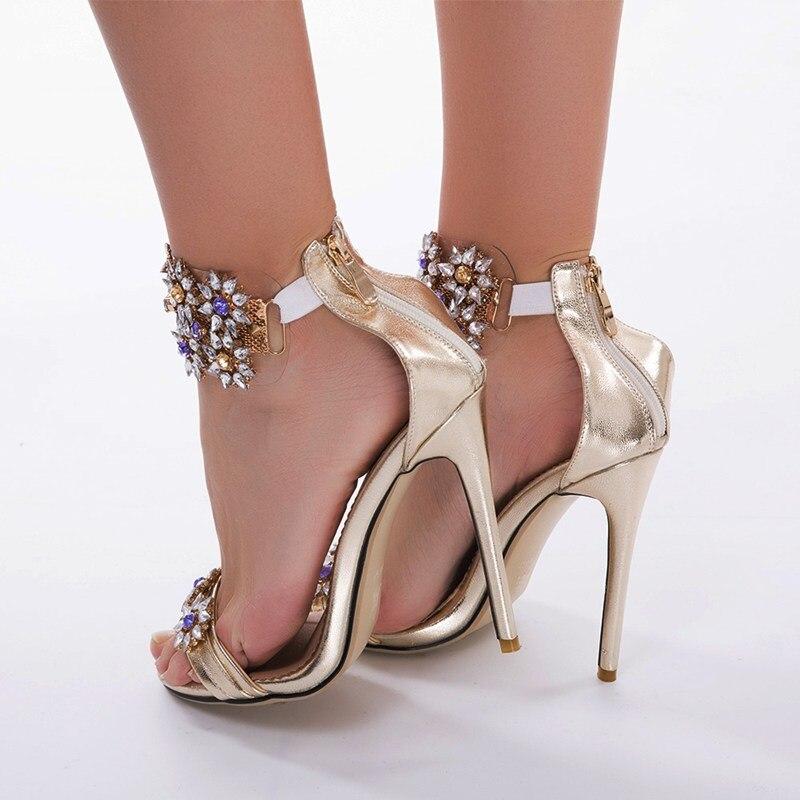 62 D'été Plus Chaussure Sandales Belle Femme À Golden Taille Avec Strass La red Mode Glissière Fermeture Chaussures Femmes AqU5Zpw