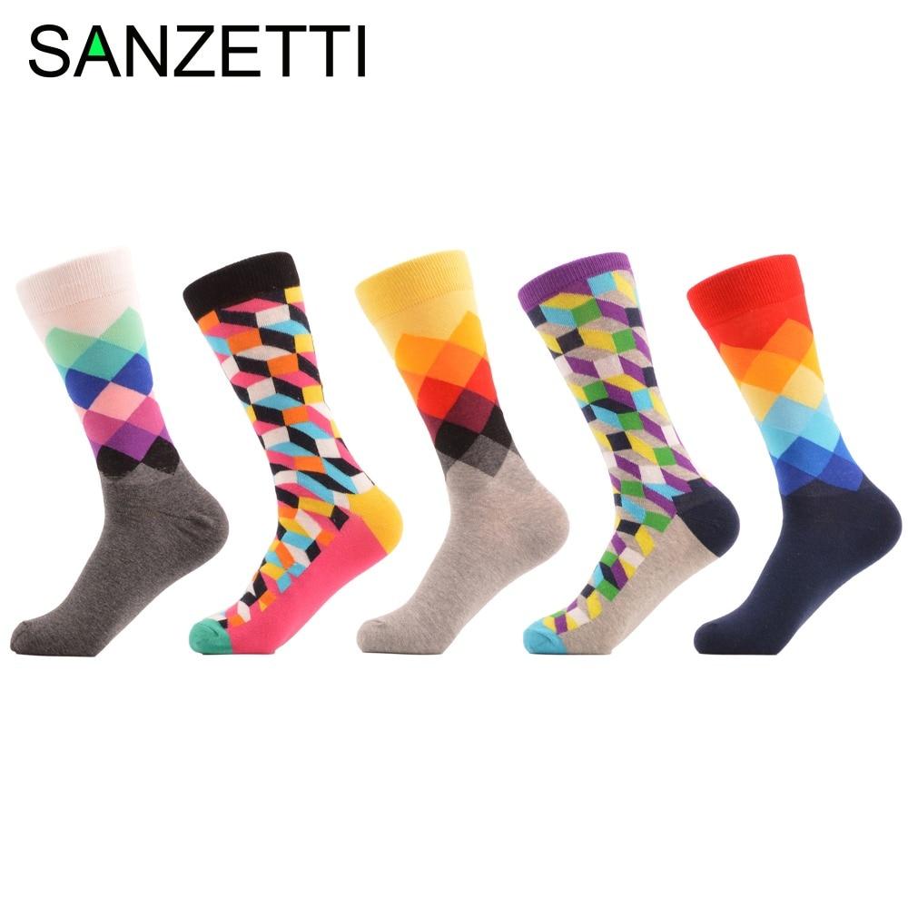 SANZETTI 5 pair/lot Argyle Filled Optic Pink Grey Colorful Combed Cotton Socks Men Cool Pattern Individuation Wedding Men Socks