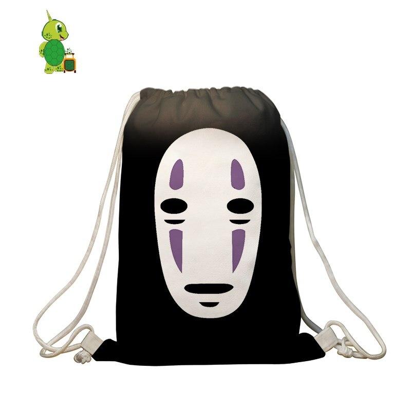 Ghibli Spirited Away No Face Man Drawstring Bag Daily Backpack Children School Storage Bags Women Men Softback Travel Bags