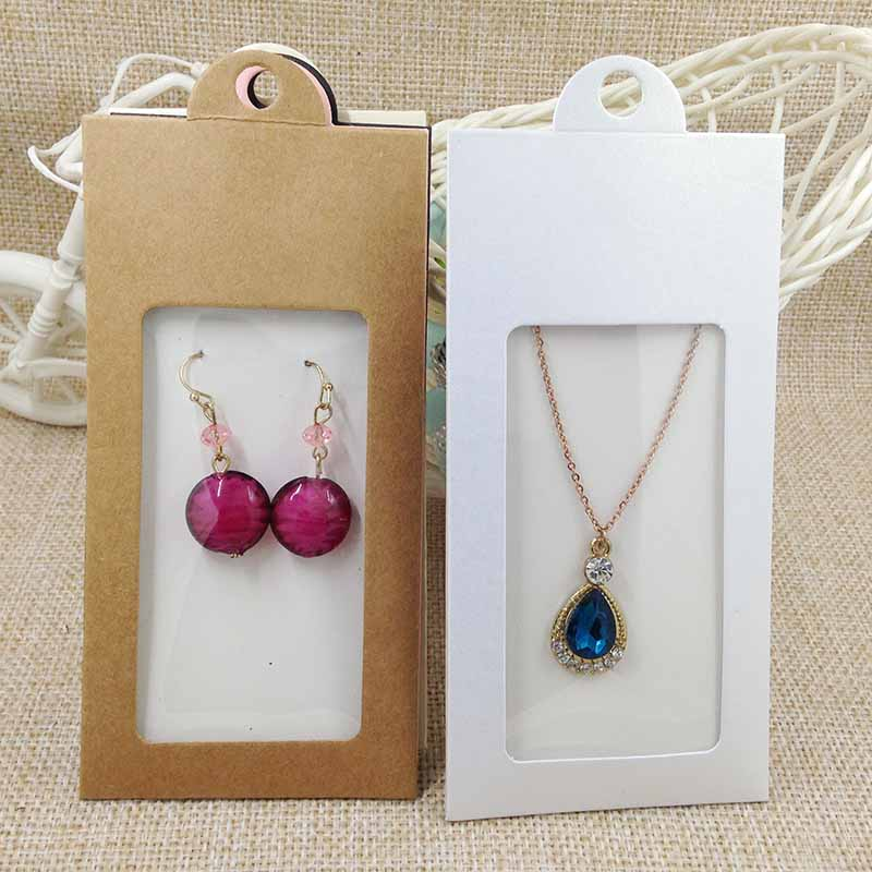 50PCS various color gift package& display window box candy box with hanger necklace /earring jewelry packing window box