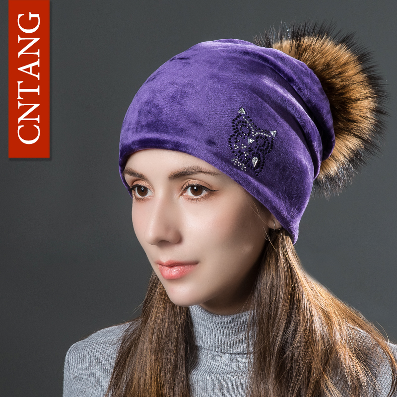 CNANG 2017 Owl Rhinestones Hats For Women Winter Warm Plus Velvet Fashion Caps With Natural Fur Pompoms Female Skullies Beanies