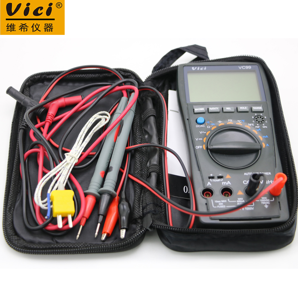 Vici VC99 Auto Range 3 6/7 Multímetro digital 20A Amperímetro Resistencia Capacitancia Temperatura Medidor Voltímetro y barra de lectura analógica