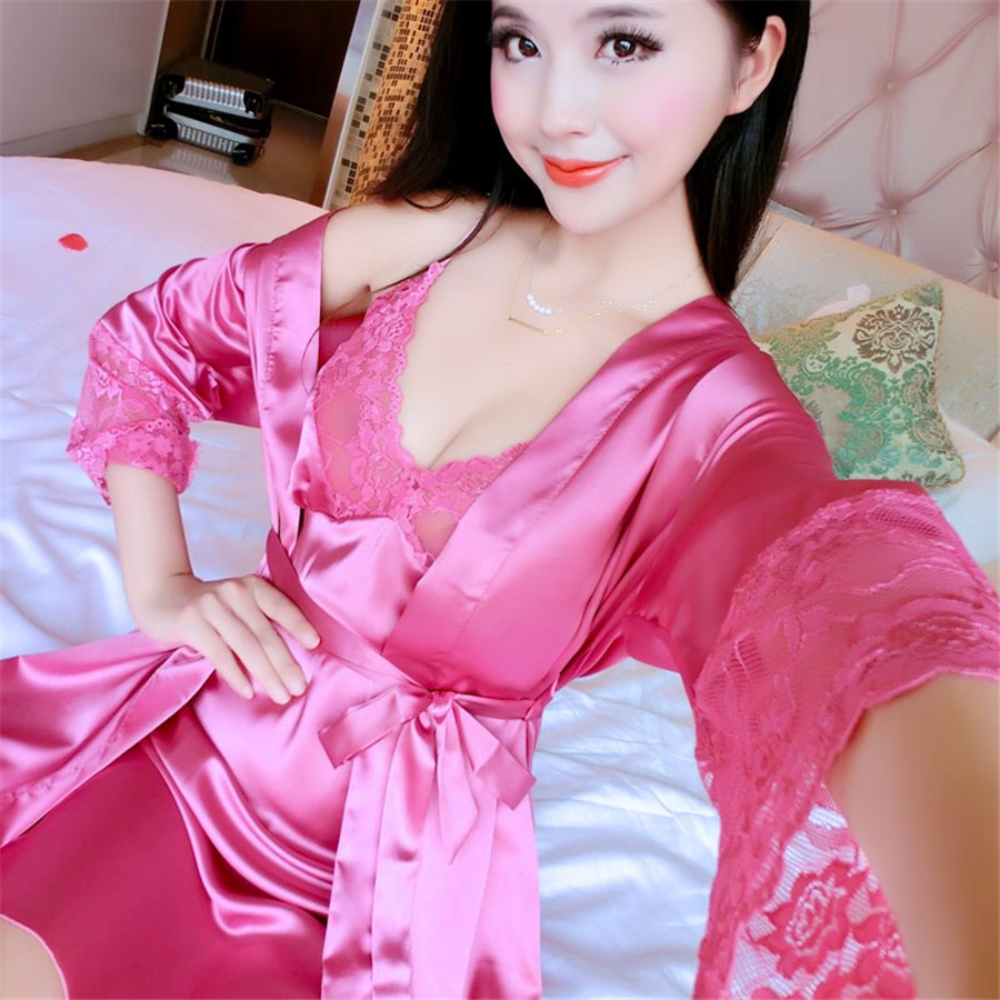Sexy Nightwear Lace Patchwork Round Neck Lace Sleepwear Women'S Night Dress Nightgown Lace Negligee Sleeved Night Gown