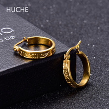 HUCHE Wide Round Hoop Earrings For Women Gold Color Stainless Steel Fashion Jewelry Luxury Small Circle Earrings HYJBE012a