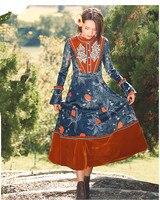 Spring Autumn Women Floral Velvet Long Dress Vintage Elegant Slim Flare Sleeve Embroidery Ruffles Velvet Patchwork Long Dress