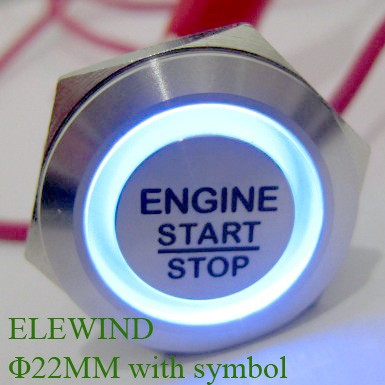 цена на ELEWIND 22mm engine start stop push button switch latching type (PM221F-11ZE/B/12V/S with symbol)