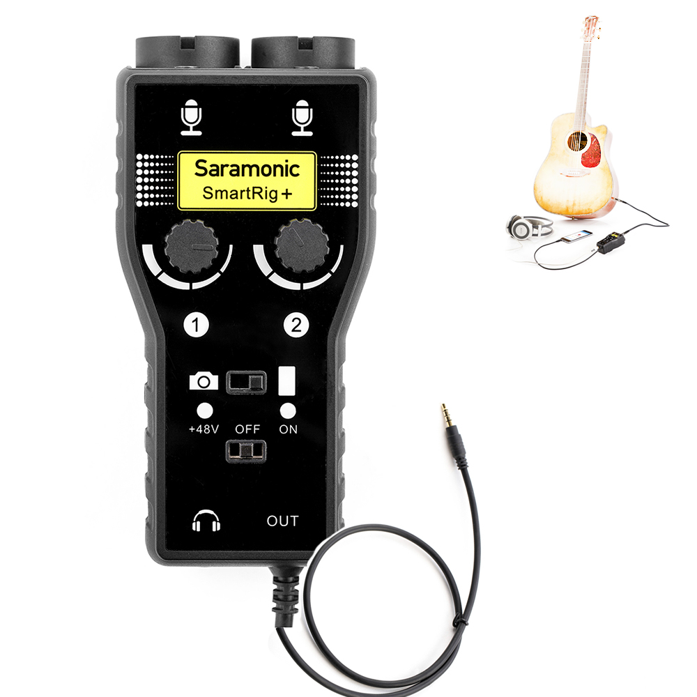 Saramonic SmartRig+ 2-Channel XLR / 3.5mm Microphone Audio Mixer with Phantom Power Preamp & Guitar Interface for DSLR Cameras saramonic 2 channel audio mixer preamp microphone adapter dual xlr 6 3mm 3 5mm inputs for iphone 7 smartphone guitar dslr camera
