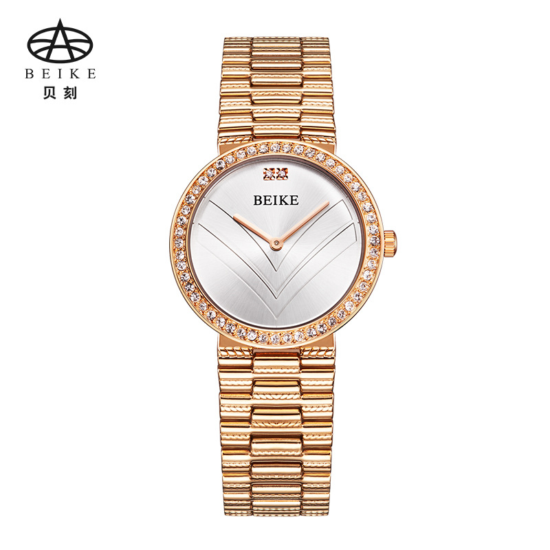 BEIKE Brand Fashion Wristwatches Women Steel Band Women Dress Watches Women Rose Gold Quartz-Watch Relogio Feminino misscycy lz the 2016 new fashion brand top quality rhinestone men s steel band watch quartz women dress watch relogio feminino