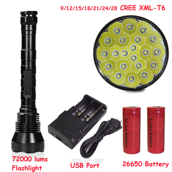 Newest Super Bright 72000 Lumen 5 Mode 28* XM-L T6 LED Flashlight Strong Torch Flash Light lamp torche For Outdoor Hunting 26650 Люмен