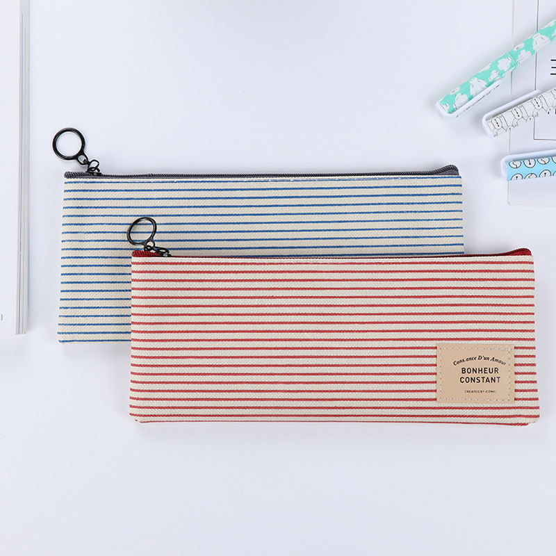 1 Piece Canvas Pen Bag  School Zipper Stationery Case For Supplies Stationery Gift Student Pencil Bag