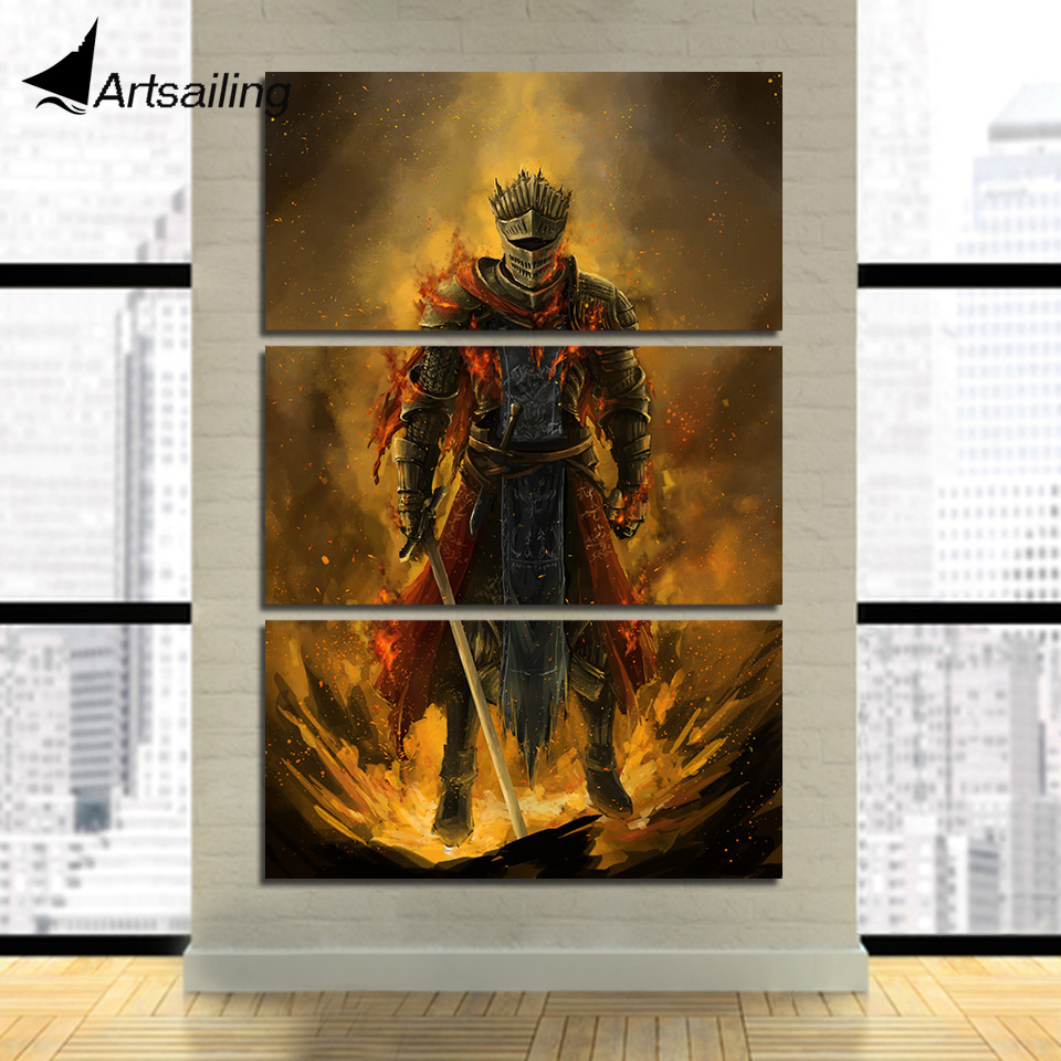 3 piece canvas painting armed warrior HD posters and prints game picture canvas painting for living room free shipping XA2238B