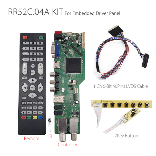 5 OSD Game RR52C.04A Support Digital Signal DVB S2 DVB C DVB T2/T ATV Universal LCD Driver Board with 7key button 1ch 6bit 40pin