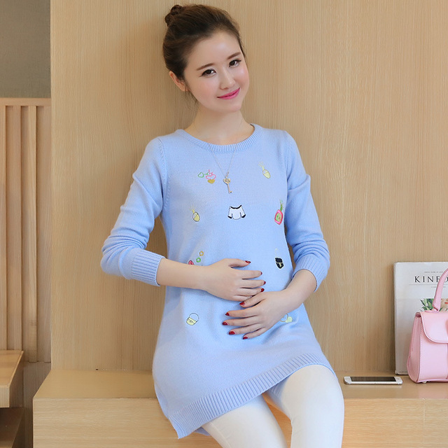 Maternity Clothes Autumn Winter Casual Plus Size Embroidered Loose Wind Sweater Women Clothes for Pregnant Pregnancy Sweaters