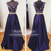 Navy Blue Long Elegant Prom Dresses Real Picture V-neck Short Cap Sleeve Top Lace A-line Rhinestone Prom Dress 2017