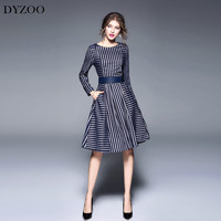 DYZOO Spring Autumn New Women Party Dress Striped Casual Sashes O Neck Patchwork Slim Bodycon Fashion