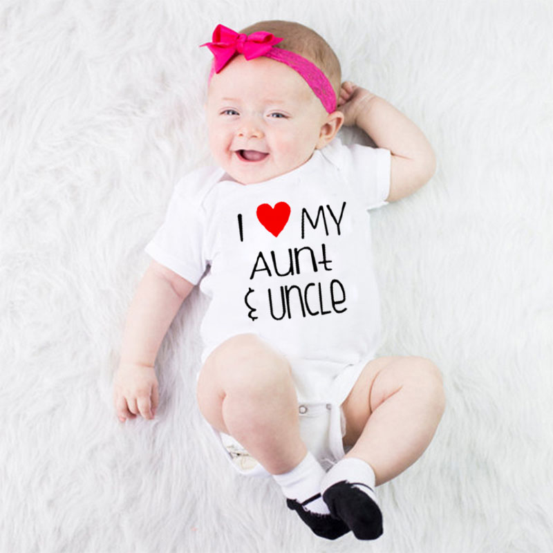 Cute I Love Aunt Uncle White Short Sleeve Cotton Baby Bodysuit Summer Baby Girl Boy Clothes Jumpsuits for 0-24M(China)