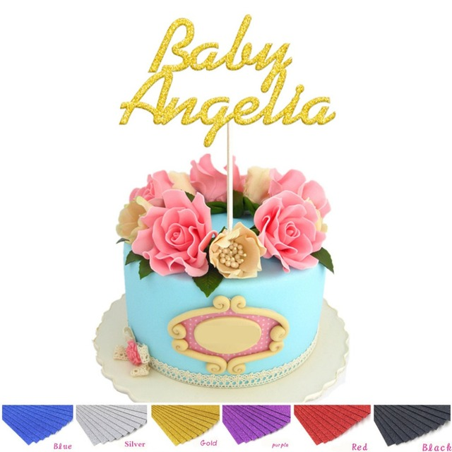 Personalized Baby Name Cake Topper Glitter Custom Gold Silver Cake