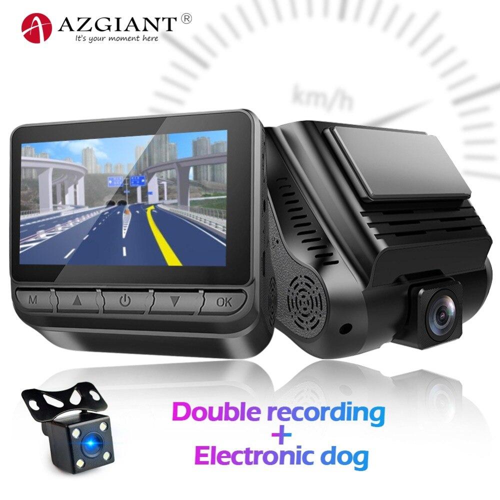 AZGIANT S28 Vision nocturne double lentille voiture DVR e dog son guerre Overspeed caché Dash Cam enregistreur vidéo boucle enregistrement g sensor