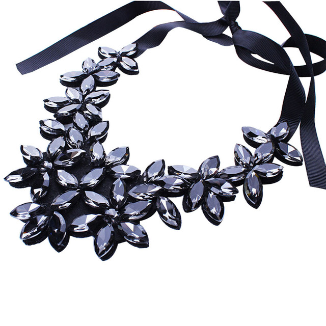 susenstone Vintage Crystal Necklaces & Pendants Crystal Statement Necklace Flower Ribbon Chain Necklace Collar Chain Jewelry Hot