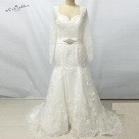 Elegant Women White Long Sleeve Lace Wedding Dresses Mermaid Corset Back Bridal Gown Fishtail Bandage Dress Robe de Mariage 2017