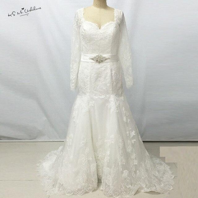 Elegant Women White Long Sleeve Lace Wedding Dresses Mermaid Corset ...