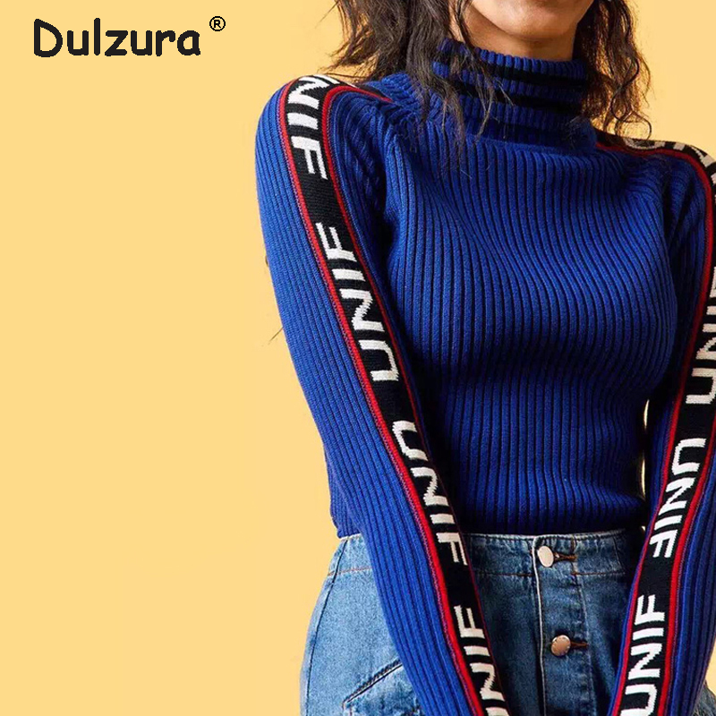 Harajuku Unif Sweater Women Letter Embroidery Long Sleeve Women Pullovers Sweaters Casual Basic Winter Tops Elastic Jumper Femme