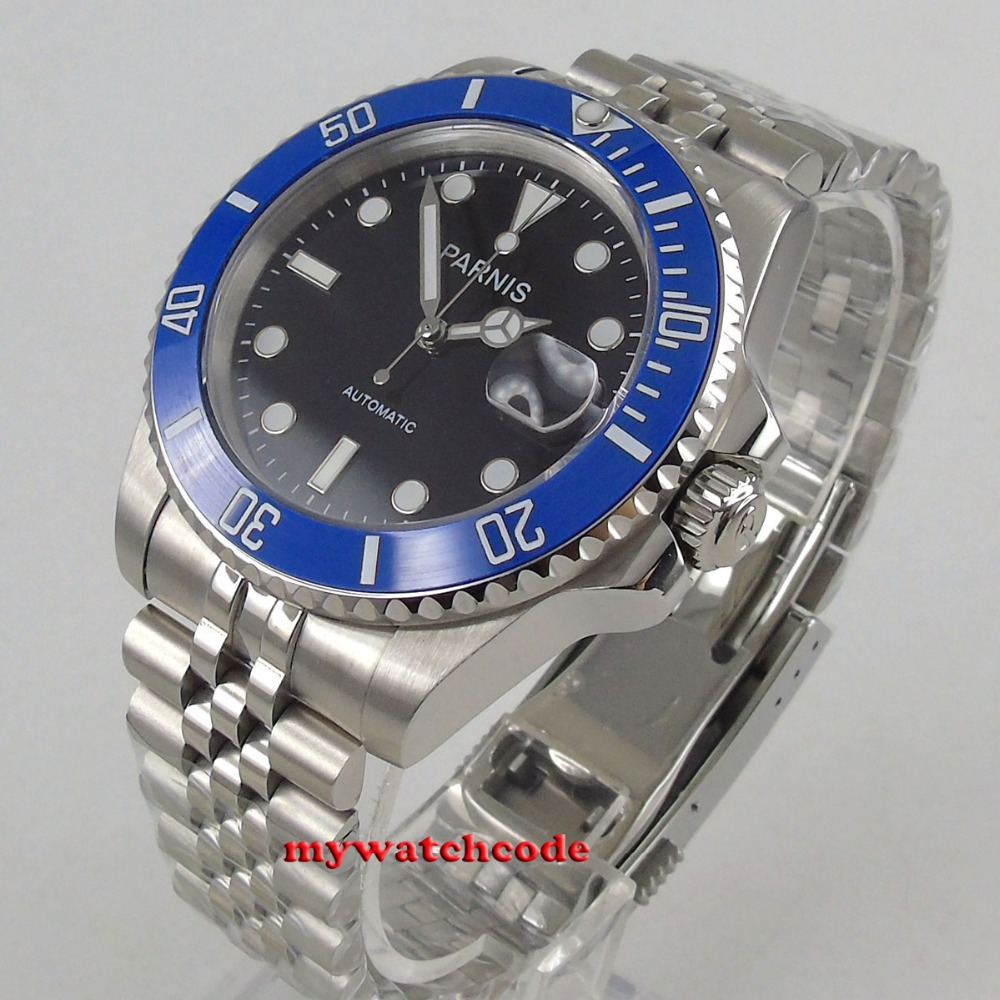 40mm PARNIS black dial Jubilee strap Sapphire glass miyota automatic mens watch цена