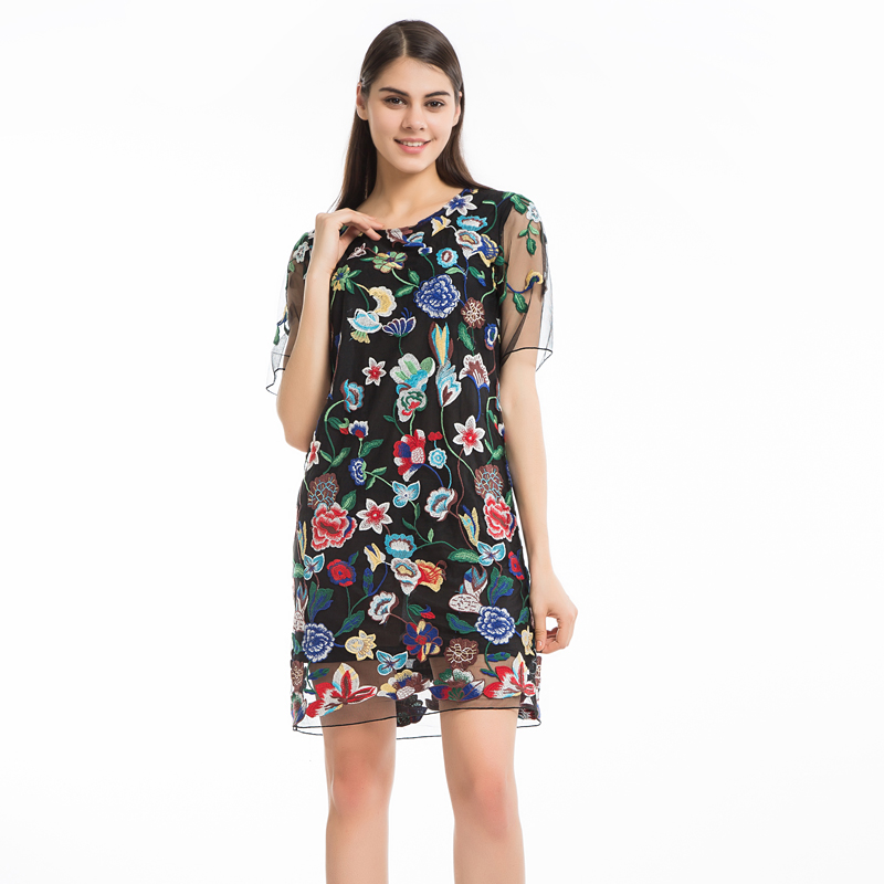cecf9a0c487 Chicanary Embroidered Floral Women Gauze Dress Short Sleeve Black Sheer  Dresses Bodycon Plus Big Size-in Dresses from Women's Clothing on  Aliexpress.com ...