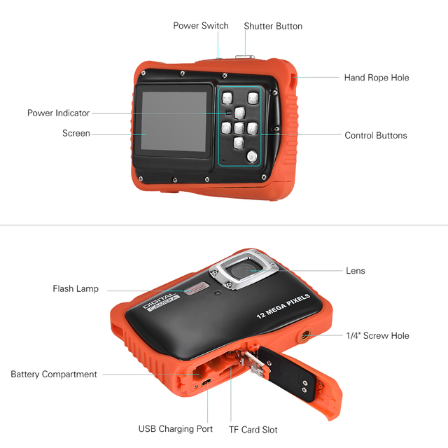 720P Mini Portable HD Digital Camera Camcorder 5MP Waterproof w/Built-in Microphone for Kids Children Students Girls Gift
