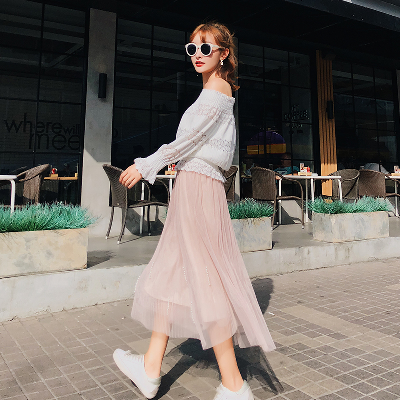 81805a2edb Women Skirtading Mesh Wind Fine Long Pleated Skirts Apricot 7358-in Skirts  from Women's Clothing & Accessories on Aliexpress.com | Alibaba Group