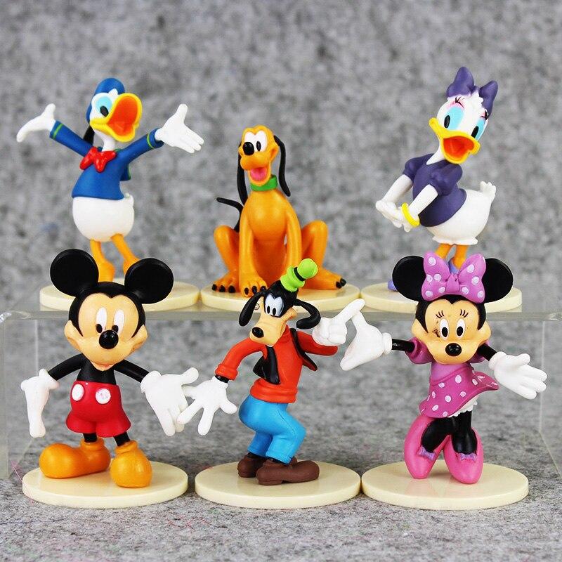 6pcs/lot 6-8cm Cartoon Mickey Figures Mickey Minnie Donald Duck Daisy Goofy Pluto Mini Model Animal Doll For Children