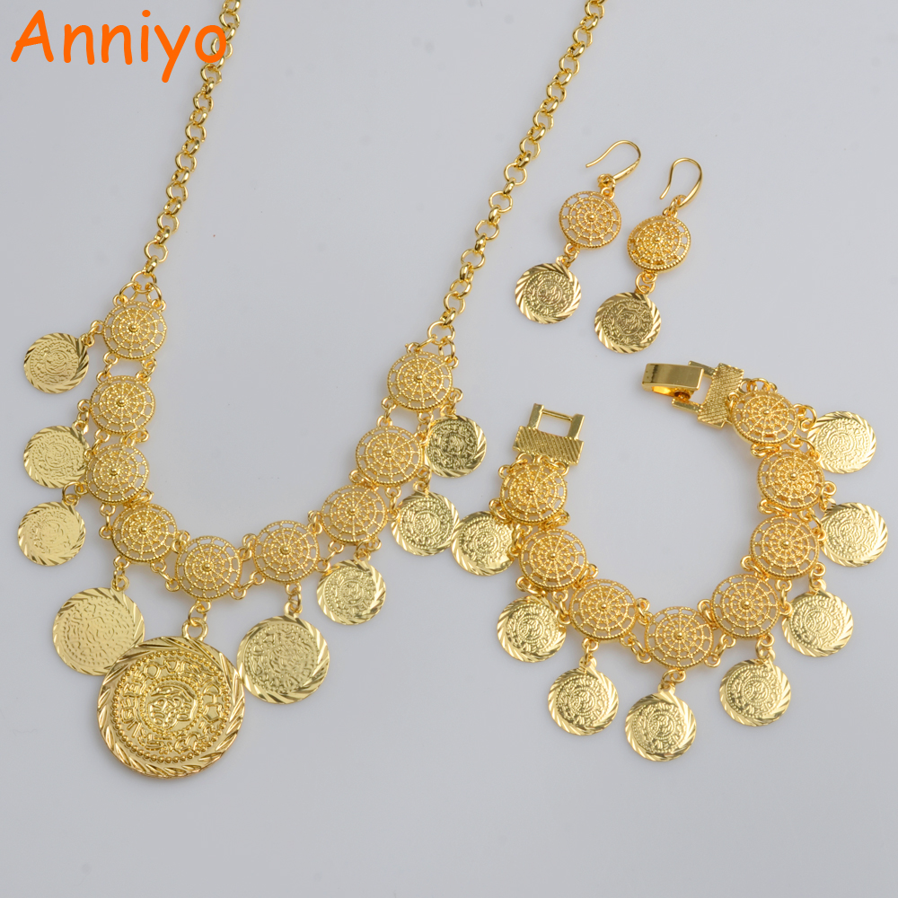 Anniyo New Arab Coin Jewelry sets Gold Color Necklace & 20cm Bracelet Earrings Africa sets/Middle Eastern Coin Ornament #066006 anniyo wholesale coin bracelet for women arab chain middle eastern gift gold color coins jewelry middle eastern wedding 048006