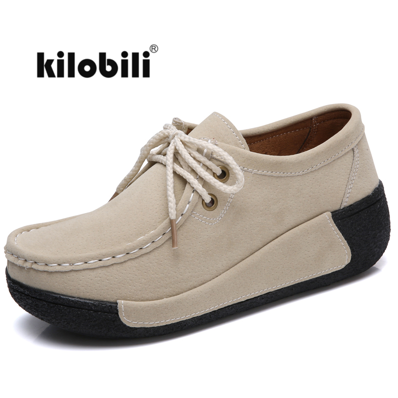 kilobili 2018 Spring women flats shoes platform sneakers shoes   leather     suede   casual shoes Lace up flats heels creepers moccasins