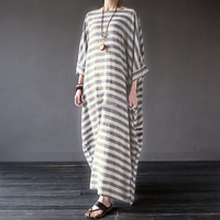 2017 Summer Dresses Vintage Striped Batwing Sleeve Robe Maxi Long Loose Plus Size Women Dress Casual