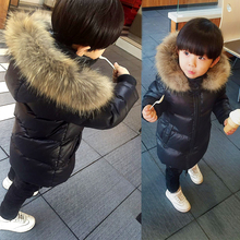 Winter Children Down Jackets Casual Solid Long-Style Detachable cap Boy's Jackets Coats 90% White Duck down Clothing