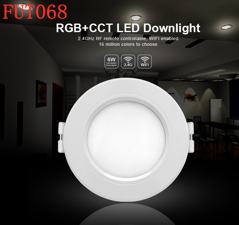 Milight FUT068 6W Dual White/RGB+CCT LED Downlight AC86-265V Led Downlight dimmable&FUT092 remote