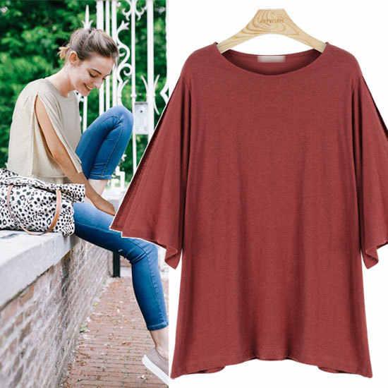 Plus Ukuran S-XL Harajuku T-shirt Musim Panas Wanita 100% Kapas Baru Kedatangan Fashion Round Collar Batwing Wanita Kasual T-shirt