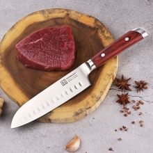 SUNNECKO Professional 7″ Santoku Knife German 1.4116 Steel Blade Chef's Slicing Kitchen Knives Color Wood Handle Christmas Gift