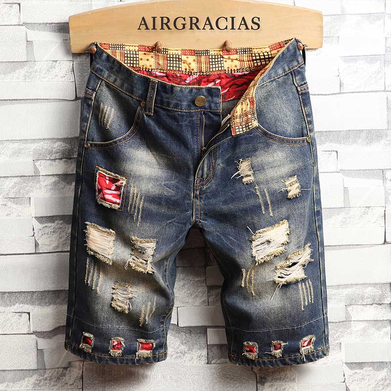 AIRGRACIAS Mens Shorts Ripped Hole Jeans Brand Clothing Cotton Short Breathable Denim Shorts Men New Fashion Bermuda Size 28-40