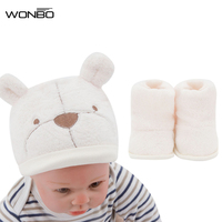 Soft Plush Baby Hat Socks Shoes Newborn Photography Props 1 Set Baby Accessories Animal Caps For