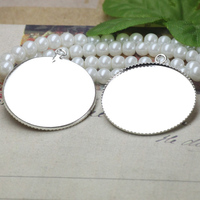 25mm 100pcs Lot Silver Plated Blank Pendant Trays Bases Cameo Cabochon Setting For Glass Stickers