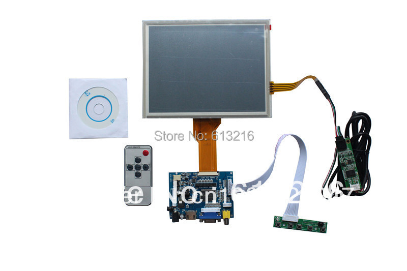 HDMI+VGA +AV  LCD driver board +Remote control +OSD keypad with cable+EJ080NA-05B 800*600 +Touch panel with control card hdmi vga 2av reversing driver board 8inch at080tn52 800 600 with touch panel