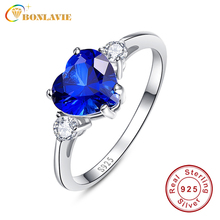 2.25Ct Genuine 925 Sterling Silver Sapphire Rings Heartstone Princess Blue Wedding Finger Ring Brand Jewelry JQUEEN for Women
