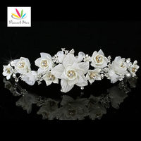 Bridal Wedding Party Quality Handmade Ivory Flower Fabric Crystals Tiara CT1336