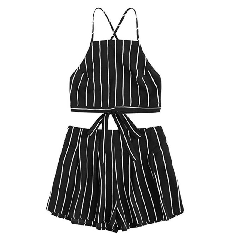 HTB10fp3gHSYBuNjSspiq6xNzpXae - FREE SHIPPING Striped Halter Top With Short JKP413