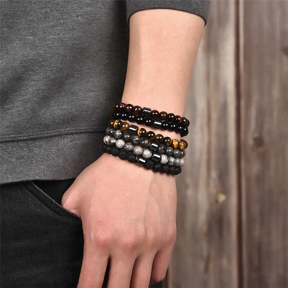 Jiayiqi 8mm contas pulseira de pedra natural para homens presente da sorte para as mulheres jóias pulseira 18cm