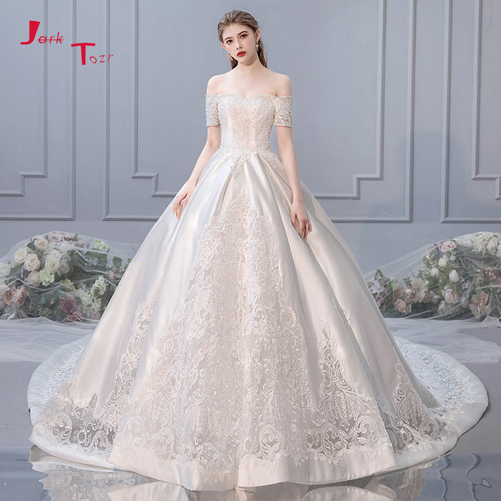 Gelinlik Satin A-line Wedding Dresses Turkey With Veil Boat Neck Vintage Vestidos De Casamento Off Shoulder Hochzeit Kleider